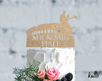 Wedding in Rome cake topper- Wedding cake topper- Silhouette wedding cake topper- Coliseum cake topper- Personalized wedding Cake Topper
