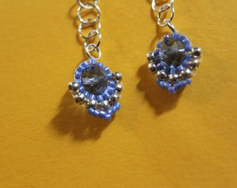 Blue beaded vintage inspired drop earrings with silver plated chain