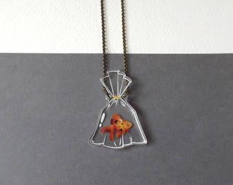 Goldfish in a Bag 2D Terrarium Faux Glass Bottle Necklace - Laser Cut Clear Acrylic - Pet Goldfish Aquarium Fish Bowl Terrarium Jewellery