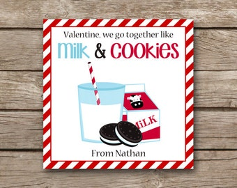 PRINTABLE - Valentine's Day Tag - Milk and Cookies - Valentine Tag - Milk and Cookies Sticker - Favor Tag - Gift Tag - Custom - Personalized