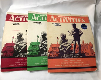 Lot of 3 CHILDREN'S ACTIVITY For Home and School Books March 1946 June 1945 November 1945 Good Condition Ephemera