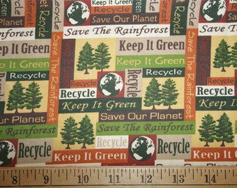 Save Our Planet Rainforest Recycle Go Green Tree Quilt Fabric By The Yard