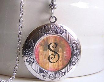 Personalized Monogram Locket, Whimsical Monogram Necklace, Custom Silver Locket Necklace