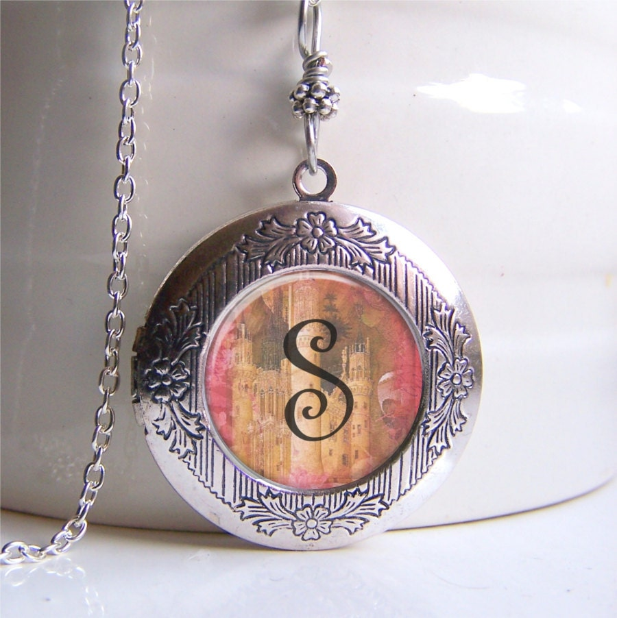 charmed lockets square silver lily necklace locket monogrammed circle jewellery monogram by