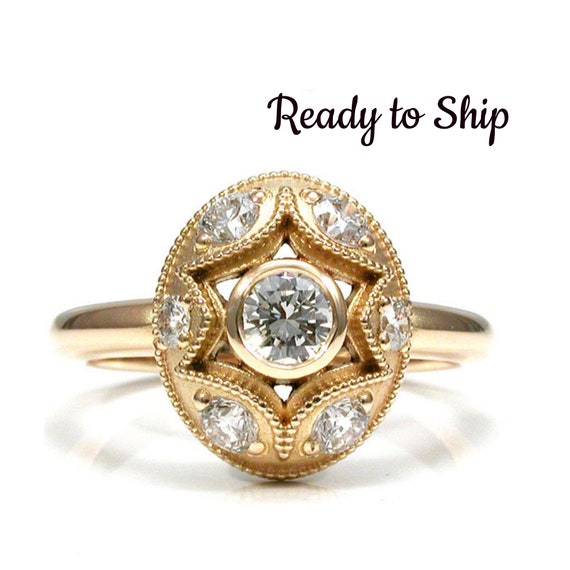 Ready to Ship Size 5 - 7 - Star and Oval Diamond Halo Engagement Ring - 18k Yellow Gold