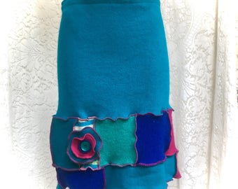 Upcycled Sweater Skirt, Jewel Toned Wool Patchwork Skirt , Women MD to Large, Turquoise, Fuschia, Blue, #SK427
