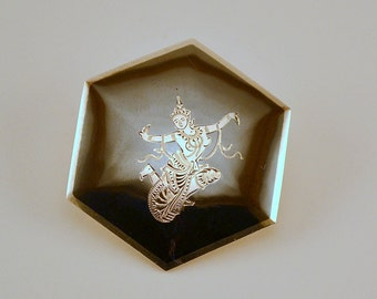 Vintage Siam silver Nielloware brooch/pin with goddess//hexagonal