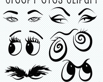 Creepy Eyes Clip Art, Halloween Clip Art, Eyes Clipart, Creepy Clipart, Eye Graphics, Digital Scrapbooking, Halloween Graphics, Cartoon Eyes