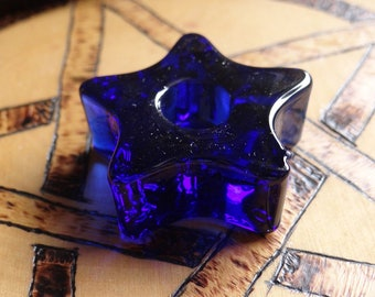 Blue Glass Star Chime Ritual Candle Holder Wiccan Pagan