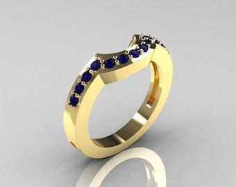 Classic 14K Yellow Gold Blue Sapphire Flush Matching Wedding Band R301B-14KYGBS