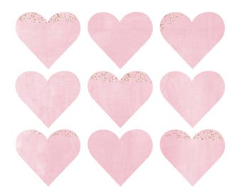 Glitter Heart Wall Decals - Watercolor Heart Fabric Wall Decals