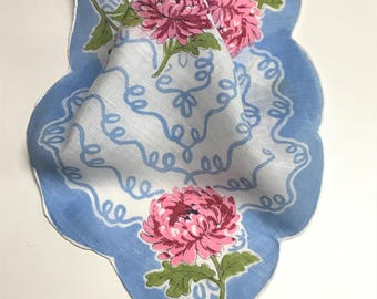 Pretty Blue Vintage Handkerchief with Rose Colored Flowers, Wedding Handkerchief, Gift for Mom, Collectible Handkerchief, Blue Cotton Hanky