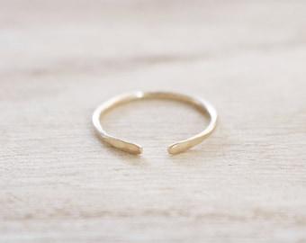 Open edge ring, gold open edge ring, adjustable stacking ring, hammered ring, gold ring, gold filled ring, gold fill ring, gold dainty ring