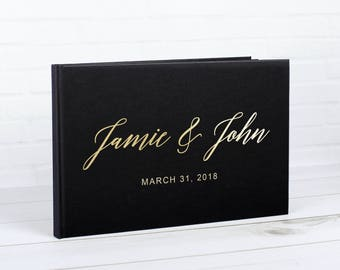 Real Gold Foil Wedding Guest Book Alternative Custom Wedding Guestbook Personalized Guest Book Hardcover Instant Photo Booth 100 Black Pages