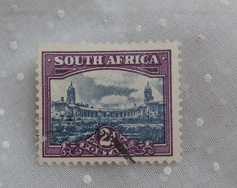 1940s Era South Africa 2 d Stamp, Purple and Blue
