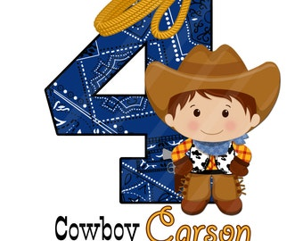 Little Cowboy Blue Bandana Digital  for iron-ons, heat transfer, Scrapbooking, Cards, Tags, Invitations, DIY, Personalized