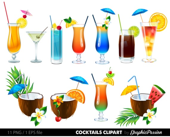summer cocktails clipart cocktail clip art summer clipart rh etsy com clip art drinks machine clipart drinks party