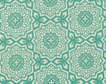 Joel Dewberry Botanique Mosaic Bloom in Teal freespirit cotton quilting blue green geometric fabric material by the metre yard