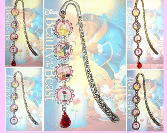 BEAUTY and the BEAST Pendant Bookmark - You Choose Style Book Mark Silver Flowers Gold Bronze Disney & Belle Princess Rose Princesses Prince