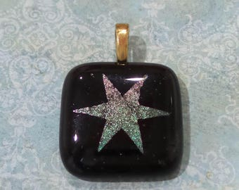 Star Pendant, Etched Star, Dichroic Pendant, Fused Glass Jewelry, Black Fused Glass Pendant, Ready to Ship - Northern Star - 3221 -2