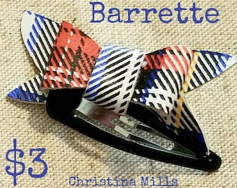 Tartan Leather Barrette