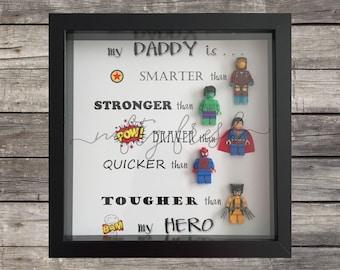 Framed Superhero Lego Gift for Dad Mom Brother Sister Wife Husband Grandma Grandpa Boyfriend Girlfriend Daddy Father's Day Birthday Hero