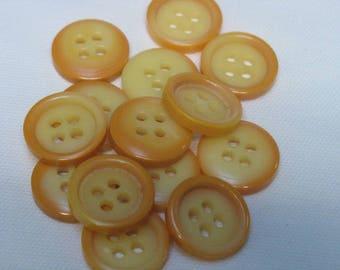 Set of 14 buttons, 2 yellow/orange tones, 22 mm in diameter
