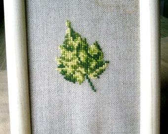 Early fall leaf - finished picture cross stitch on linen evenweave autumn