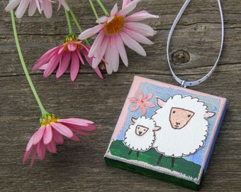 Mini Canvas Ornament with Mama Sheep and Her Lamb for Easter and Spring Original Mixed Media Artwork of Spring Sheep Mother and Child
