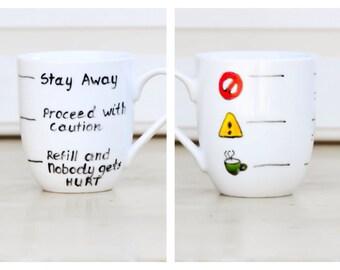 Fill Line Mug - Warning Coffee Mug - Funny text cup - Traffic Light Tea cup - coffee lover gift