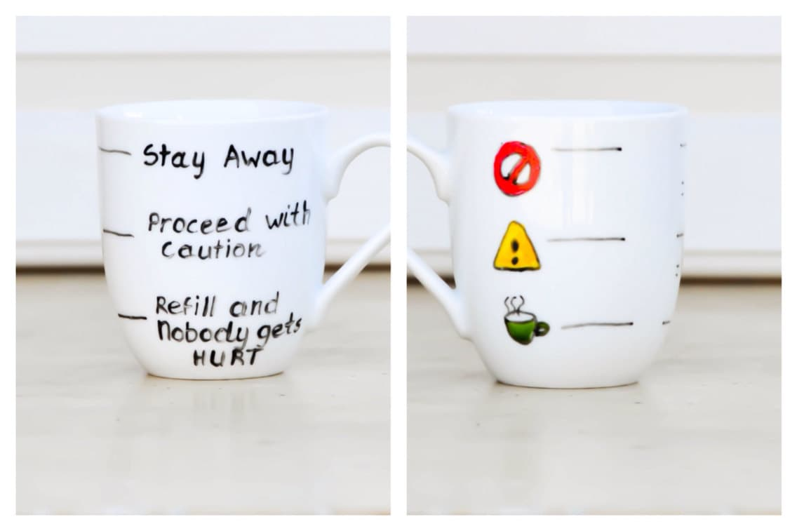 Fill Line Mug Warning Coffee Mug Funny text cup Traffic