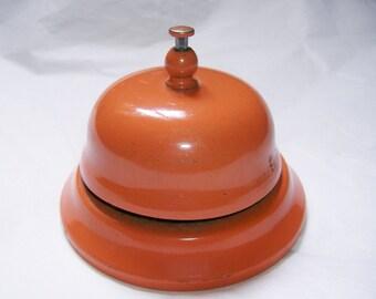 Vintage Front Desk / Counter Bell • Hotel Sevice, Shopkeeper, General Store • Retro Orange