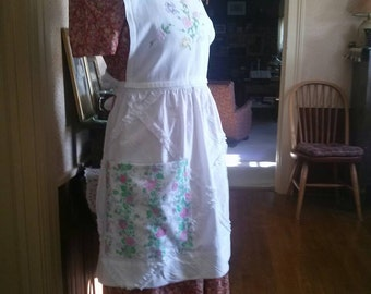 Vintage Style Upcycled OOAK Full Apron With Vintage Linens