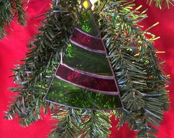 Christmas Tree Decoration - Stained Glass Festive Tree Ornament Suncatcher