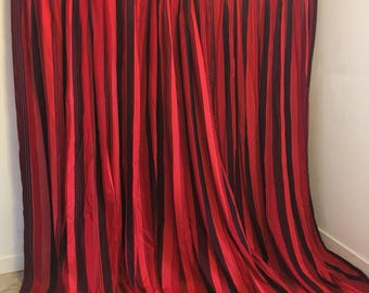 red, black and pink draperies, 3 piece set, red black draperies, long vintage curtains, curtain set