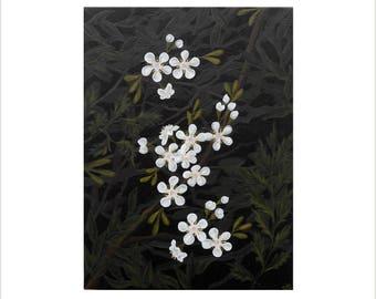 Blossom Painting, White Cherry Blossom Art, White Flower Art, Green and White Flower Painting, Original Acrylic Artwork on Canvas