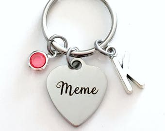 Meme KeyChain Gift for Grandmother Memme Keyring Key chain Personalize Initial Birthstone birthday Christmas present purse charm planner mom