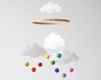 Rainbow Cloud Baby Mobile, Nursery Decor, New Baby Gift, Crib Mobile, White, Bright