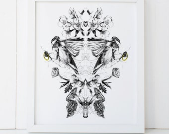 Chickadee and Botanical Bird Art Print 8x10 Fine Art Wall Decor