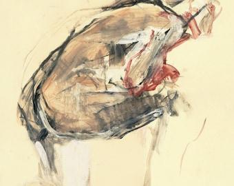 """Originalzeichnung,""""Hommage à Lovis Corinth XXI"""", Mischtechnik auf Papier, 44x31 cm"""