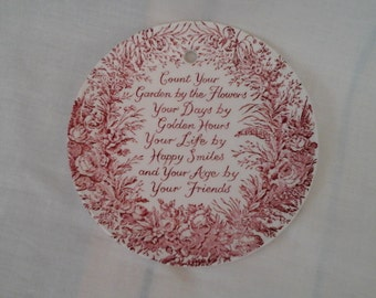 Royal Crownford Ironstone red transfer Wall-hanging Plate, with poem