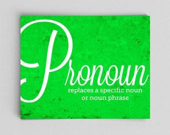 Pronoun Grammar Poster Print Part of Speech English Poster Teacher Gifts for Teachers Typographic Print English Gifts Gag Gift Office Decor