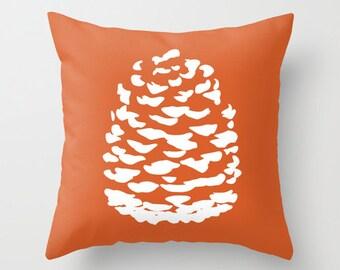 Modern Pinecone Throw Pillow Cover - Pumpkin Orange - Fall Decorative Pillow - Home Decor - includes insert