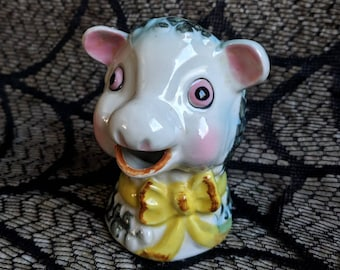 Vintage kitschy Napco made in Japan adorable little sheep or lamb creamer with bow hand painted