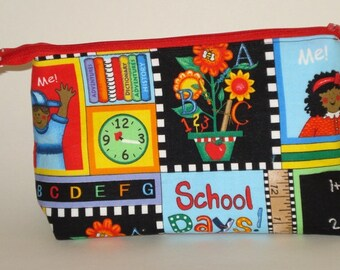 SCHOOL DAYS Pick Me 100% cotton fabric Cosmetic Bag, gift bag with full width opening and nylon zipper closure