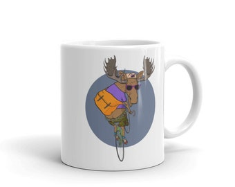Funny Moose Riding The Bicycle Coffee Mug