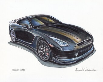 Nissan GT-R  Car Print Supercar Drawing Automotive Art Boyfriend Gift Idea Muscle Car Wall Art Performance Car Poster Gift For Him