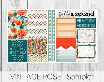 Vintage Rose Sampler || Planner Stickers || Happy Planner || Erin Condren