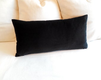 BLACK velvet rectangular lumbar bolster pillow 13x26