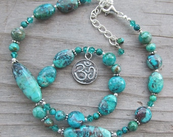 Artisan Silver Lotus Om Aum Chrysocolla Yoga Statement Necklace Healing Gemstones